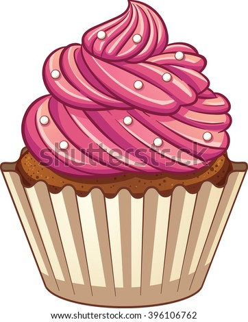 Cartoon cupcake. Vector clip art illustration with simple gradients. elements on three separate layers. - stock vector