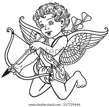 cartoon cupid angel shooting arrow , black and white outline image