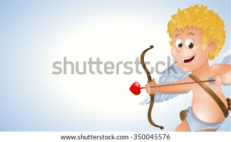 Cartoon cupid showing a blank white background banner - stock vector