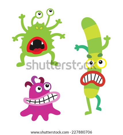Cartoon cute and funny monsters and bacterias.  Vector microbes isolated on white. - stock vector