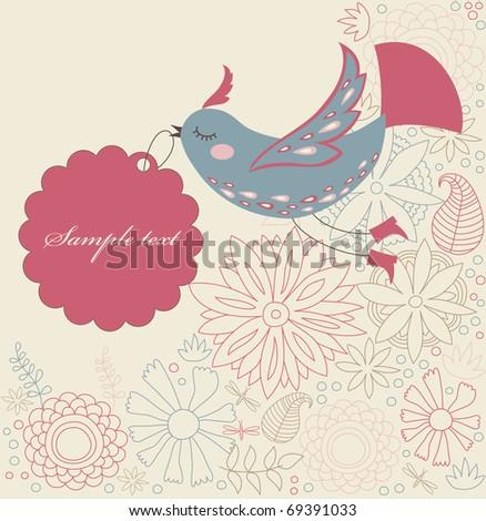 cartoon cute bird with text frame. vector illustration - stock vector