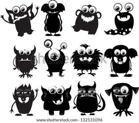 Cartoon cute black and white monsters