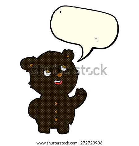 cartoon cute black bear cub with speech bubble - stock vector