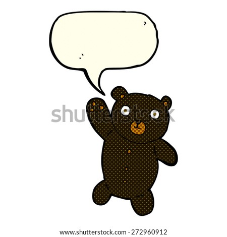 cartoon cute black teddy bear with speech bubble - stock vector