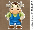 cartoon cute bull, vector illustration - stock photo