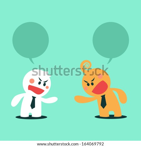 cartoon cute business man discuss, talking, by angry mood have blank word balloons is above they, discuss concepts - stock vector