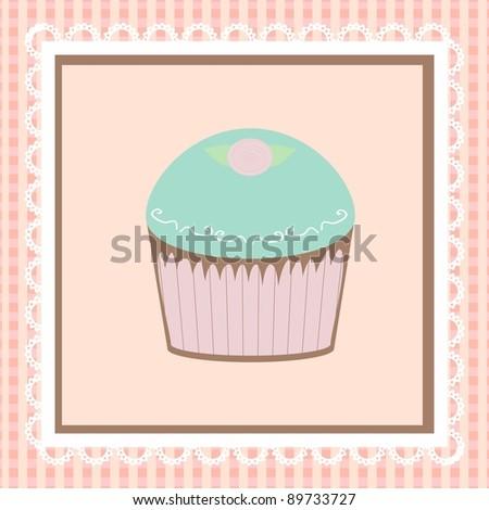 Cartoon cute cake card, vector/Cartoon cake card - stock vector