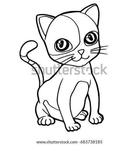 Cartoon Cute Cat Coloring Page Vector Illustration