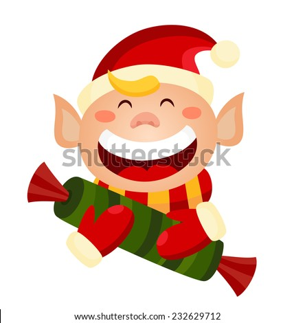 Cartoon cute christmas elf holding a candy. Vector elf isolated on white.