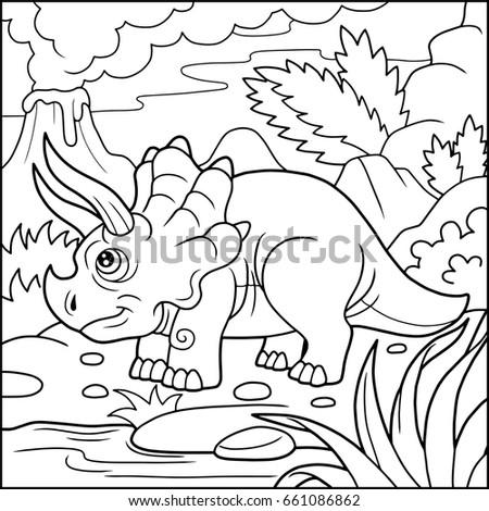 Cartoon Cute Dinosaur Coloring Book Stock Vector 661086862 ...