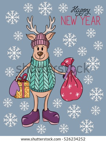 Cartoon cute hand drawn Christmas deer with presents vector illustration.