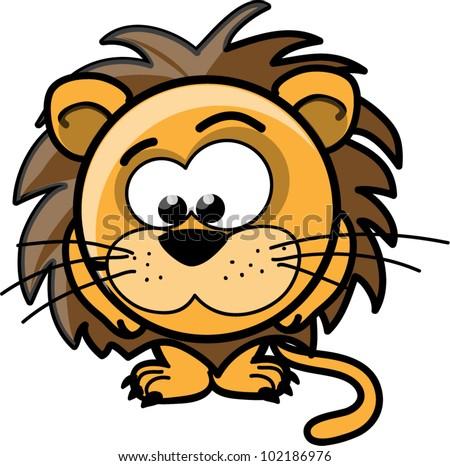 Cartoon cute lion, vector - stock vector