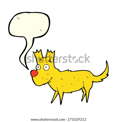 cartoon cute little dog with speech bubble - stock vector