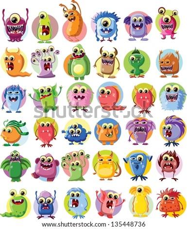 Cartoon cute monsters - stock vector