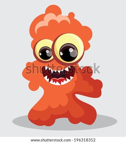 Cartoon cute monsters and bacterias