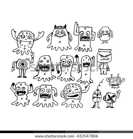 cartoon cute monsters illustration design