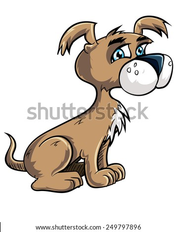 Cartoon cute puppy looking happy. Isolated on white - stock vector