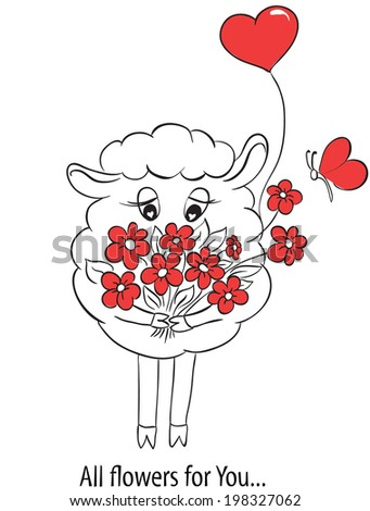Cartoon cute sheep with red hearts and flowers.  Idea for greeting card with Happy Wedding or Valentines Day or Mothers day. Vector doodle illustration.