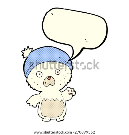 cartoon cute teddy bear in hat with speech bubble - stock vector