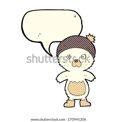 cartoon cute teddy bear with speech bubble - stock vector