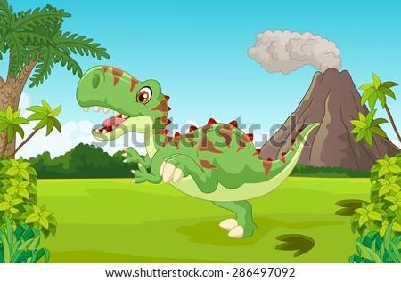 Cartoon Cute tyrannosaurus cartoon - stock vector