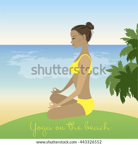 Cartoon cute  woman  meditating in lotus pose on tropical beach. Vector illustration - stock vector