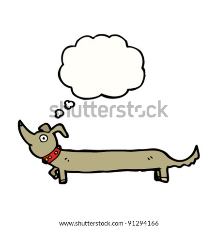 cartoon dachshund with thought bubble - stock vector