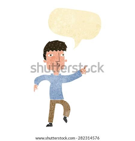 cartoon dancing man with speech bubble - stock vector