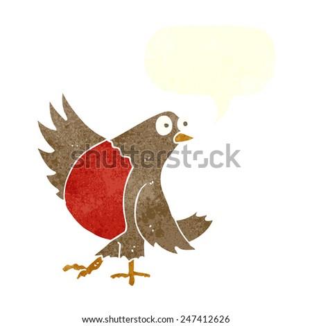 cartoon dancing robin with speech bubble - stock vector