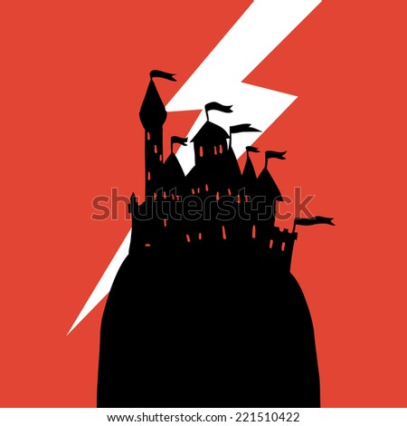 Cartoon dark Halloween Castle on a Hill flat icon. The vector illustration of cartoon castle on a hill for ui, web games, tablets, wallpapers, and patterns. - stock vector
