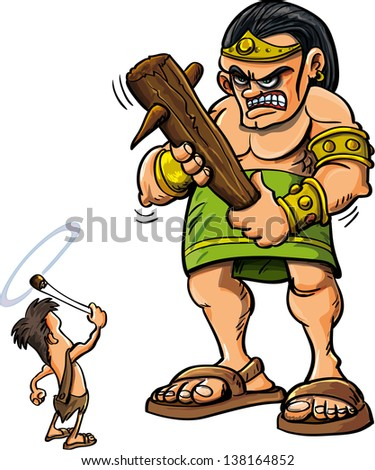 Cartoon David and Goliath isolated on white - stock vector