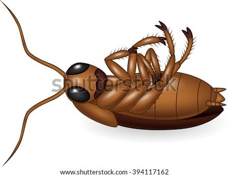 Cartoon dead cockroach - stock vector