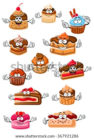 Cartoon delicious cupcakes, chocolate cakes, berry pies, fruity dessert, cheesecake and pudding with whipped cream, fresh fruits and chocolate glaze. Happy sweet pastry or bakery shop and menu usage - stock vector