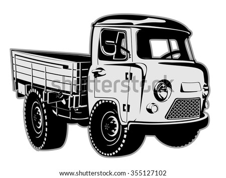 Cartoon delivery cargo pickup isolated on white background. Available EPS-8 vector format separated by groups and layers for easy edit - stock vector