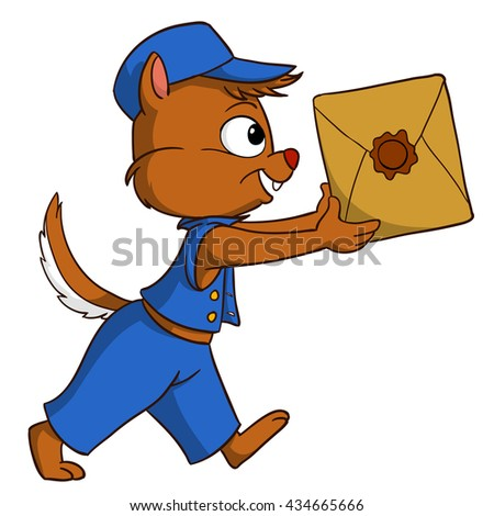Cartoon delivery chipmunk with package isolated on white background - stock vector