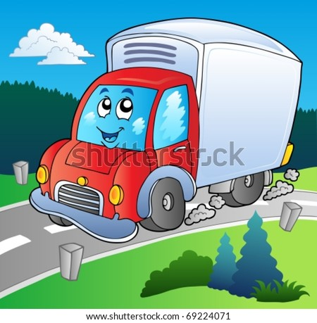 Cartoon delivery truck on road - vector illustration. - stock vector