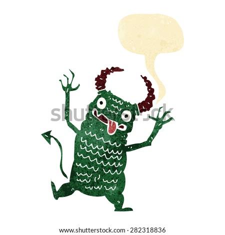 cartoon demon with speech bubble - stock vector