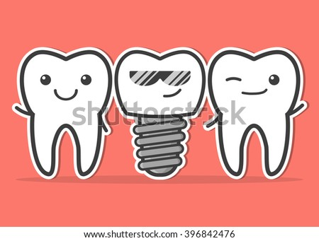 Cartoon dental implant and teeth. Smiling teeth and dental implant. Funny vector illustration - stock vector