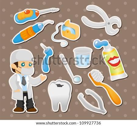 cartoon dentist tool stickers - stock vector