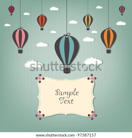 cartoon design with hot air balloons - stock vector