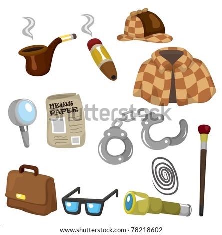 Cartoon detective equipment icon set - stock vector