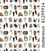 Cartoon detective equipment  seamless pattern - stock