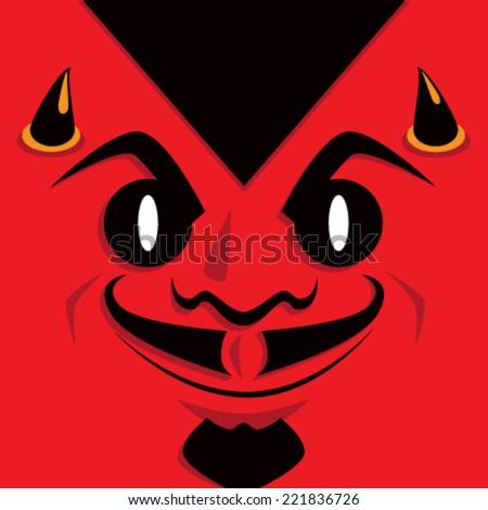 Cartoon Devil Face - stock vector