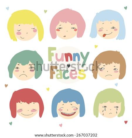 Cartoon different emotions color illustration. Set for design. - stock vector