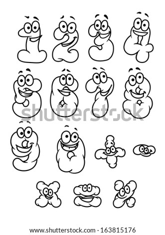 Cartoon digits and numbers set with positive emotions - stock vector