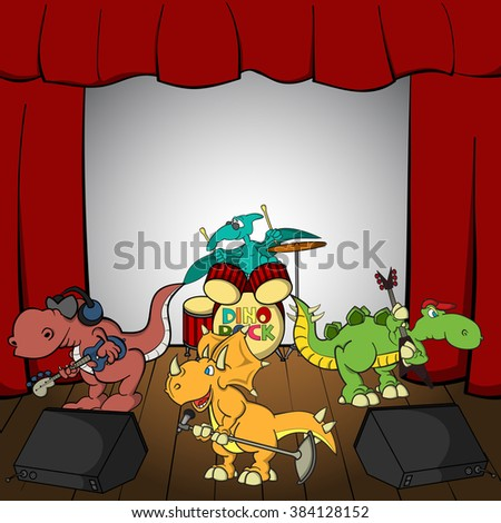 Cartoon dino rock band on a stage. Triceratops as a singer with a microphone, Stegosaurus as a guitarist, T-Rex as a bass guitarist with headphones on his head, Pterodactyl as a drummer at a drumkit. - stock vector
