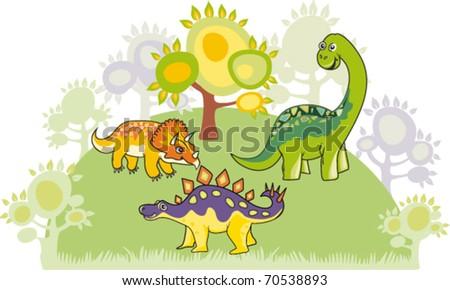 Cartoon dinosaur collection. - stock vector