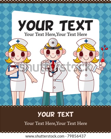 cartoon doctor and nurse card card - stock vector