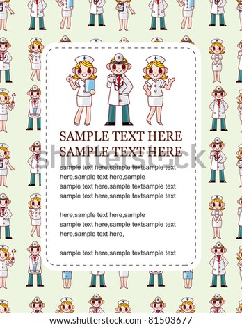 cartoon doctor and nurse speech card - stock vector