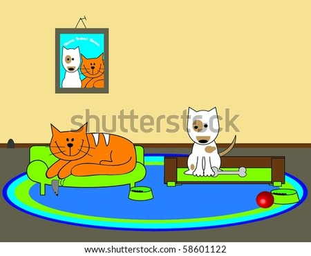 Cartoon Dog and Cat in home scene - stock vector